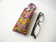 Colorful butterflies eyeglass case with lanyard faux by Lunica