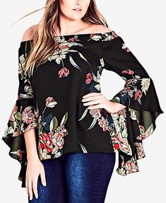 Image 1 of City Chic Trendy Plus Size Off-The-Shoulder Top Blouse Styles, Blouse Designs, African Clothing Stores, Size Clothing, Latest Pakistani Dresses, Hijab Fashion, Fashion Dresses, Modelos Plus Size, Mode Chic