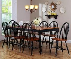 9 Piece Dining Set Farmhouse Table Leaf 8 Windsor Chairs Black Oak Kitchen | eBay