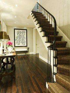 dark wood floors-new age to stair runner! Hardwood Floor Colors, Dark Wood Floors, Hardwood Stairs, Dark Hardwood, Wood Flooring, Living Room Carpet, My Living Room, Staircase Runner, Carpet Staircase