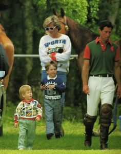May 10, 1987: Diana and Princes William and Harry at Smith's Lawn at Windsor Great Park where Prince Charles took part in a polo match