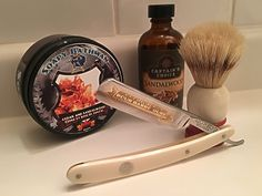 Soapy Bathman Cedar and Sandalwood shaving soap, Captain's Choice Sandalwood aftershave, vintage Dorko 101 'Special Pour Barbe Dure' straight razor and Ever-Ready C40 shaving brush, with a comfortable Jnat shaving edge on the blade.