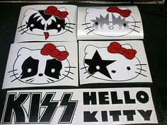 HELLO-KITTY-X-KISS-CAR-DECALS-COMES-WITH-ALL-4-AND-KISS-LOGO Kiss Logo, Hello Kitty Car, Different Emotions, Rock Style, Car Decals, Mans Best Friend, Dog Cat, Snoopy, Puppies