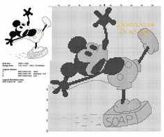 Disney vintage Mickey Mouse slipping on the soap free cross stitch pattern
