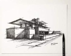 My lazy Sunday architectural sketch – Frank Lloyd Wright – Robie House — see video on my FB - Architecture Landscape Architecture Model, Architecture Portfolio Layout, Architecture Drawing Sketchbooks, Conceptual Architecture, Architecture Concept Drawings, Architecture Collage, Minimalist Architecture, House Architecture, Classical Architecture