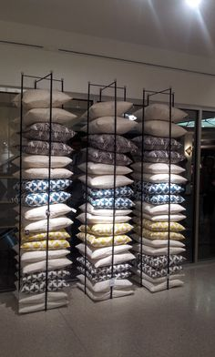 Luxury Bedding Sets For Less Referral: 7979100849 Merchandising Displays, Store Displays, Pillow Storage, Store Layout, Boutique Deco, Showroom Design, Bed Linen Design, Retail Store Design, Store Interiors