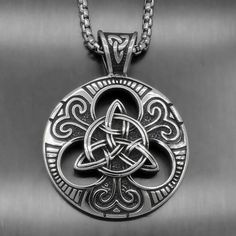 Men's Large Celtic knot Magic Both Sided Solid Stainless Steel Pendant Celtic Necklace, Knot Necklace, Celtic Symbols, Celtic Art, Druid Symbols, Celtic Spiral, Celtic Wedding Rings, Viking Jewelry, Celtic Designs