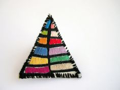 Color block brooch, embroidered geometric brooch, triangle brooch, blue, yellow, green, shabby chic jewelry