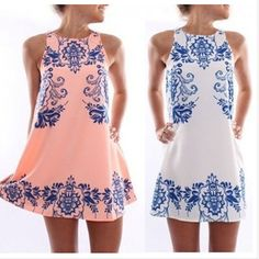 Blue And White Round Neck Sleeveless Printed Chiffon Dress Summer