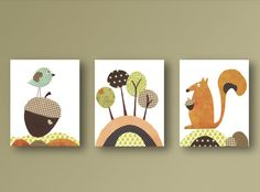 """045  IMPORTANT: This is a set of prints made on matte photo paper that will need to be framed. Before ordering, make sure to read the shop policy for more info: https://www.etsy.com/shop/GalerieAnais/policy  Woodland inspired set of prints, wonderful baby nursery decor or any kids room. With the cutest squirrel ever, the bird guarding his acorn and some colorful trees that remind of the colors of autumn. More baby room decor at http:/www.etsy.com/shop/GalerieAnais  Options: 8x10"""" canvases…"""