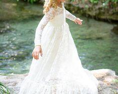 Blumenmädchen Kleid-Lvory Spitze Langarm Kleid - Baby Blumenmädchen Kleid - Kleider-Elfenbein Mädchen Kleid-Creme Kleid - rustikal Brautkleid