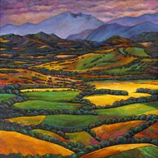 """Draped in a Dream."" Original acrylic painting on canvas. Landscape painting of the Le Marche region in eastern Italy."