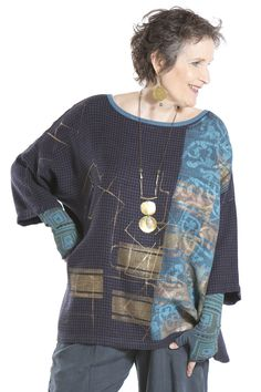 Morton Square Top Printed-Blue Fish Clothing