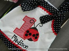 Ladybug First Birthday Outfit, Ruffle Bum Bloomers, Dress