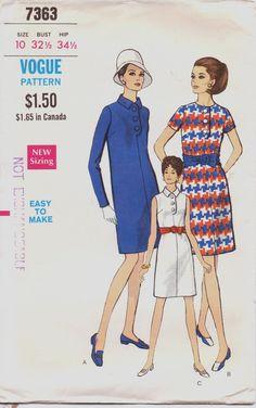 Vintage 1960s Vogue Pattern 7363 Womens One Piece by CloesCloset, $11.00 #60s #retro #vintage