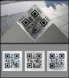 A QR code cube that you can scan from 3 different sides and get 3 different results.  Very creative - QR Code Art