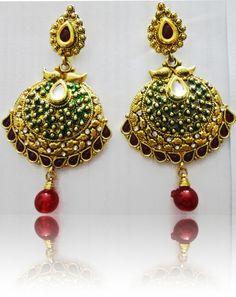 Majestic kundan and  red stone Gold Tone ethnic earrings