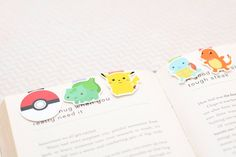 Cute Magnetic Bookmarks - Pokémon (Bulbasaur, Pikachu, Squirtle, Charmander)
