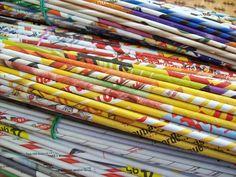 Calabash Bazaar: paper tubes for weaving.