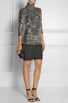 BY MALENE BIRGER Zio sequined turtleneck top -    .By Malene Birger's sequined stretch-jersey top is the glamorous piece your evening wardrobe is missing. This heavily embellished style feels soft against the skin thanks to a silky smooth lining. Give it a contemporary finish with tailored shorts and sandals.