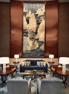 Visit the photos and videos page of Shangri-La Hotel, Hefei to get a view of our rooms, suites, restaurants, event venues and lobby. Asian Interior, Best Interior, Luxury Interior, Interior Architecture, Lounge Design, Lobby Interior, Interior Walls, Hotel Lobby Design, Shangri La