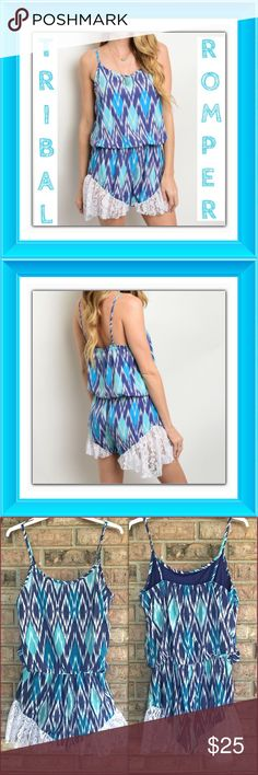 """Tribal Romper Jumpsuit Lace Trim S M Fun & Flirty Lacey Tribal Romper. This seasons hottest trend with spaghetti straps & lace trim. Nice tribal pattern - soft lined polyester. True to size - length 31"""" new from maker without tags Pants Jumpsuits & Rompers"""