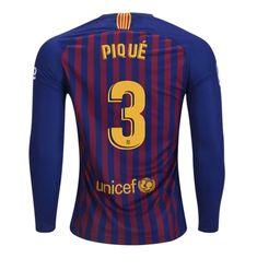 154b9f15c5 FAN SHIRT Pique  3 FC Barcelona 2018-2019 Home Jersey Long Sleeve Free  Shipping