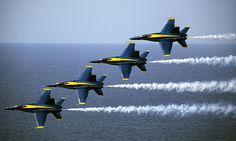 The United States Navy ~ Blue Angels F/A-18 Hornets (United States Marine Corps photo by Cpl. Reece Lodder)