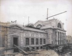 View of construction of the Palace of Art (St. Louis Art Museum) from the southwest at the 1904 World's Fair site, 18 December 1903.