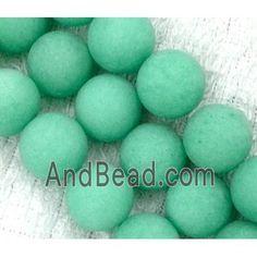 round matte jade beads, green dia, per st Jade Beads, Easter Eggs, Green