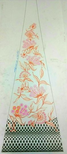 Border Embroidery Designs, Machine Embroidery Designs, Embroidery Patterns, Aari Embroidery, Embroidery Fashion, How To Dye Fabric, Fabric Painting, Color Themes, Sketches