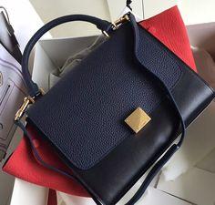 Celine Collection Outlet-Celine Trapeze Bag with RED+BLACK+NAVY BLUE