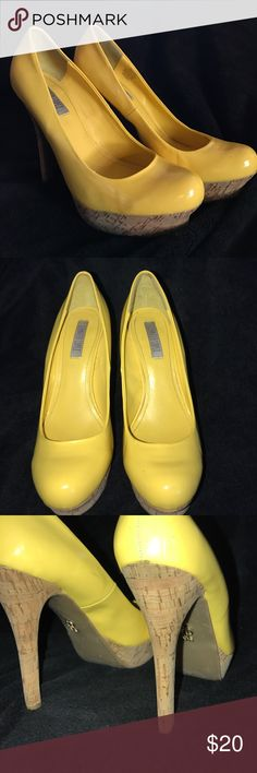 "J Lalana Yellow and Cork High Heels 1"" platform and 5"" total heel.  Worn a few times to dinner dates.  Sexy look, and great feel.  Now I'm in a relationship with a guy who's 1"" shorter than me, so I'm downsizing my extensive heel collection!  😂😂🤣😂 Jennifer Lopez Shoes Heels"