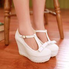 Women Wedges T Straps Bowtie Pumps Platform Shoes 3428