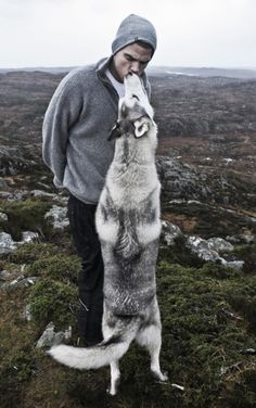 """Last pinner said: """"kissed by a wolf, amazing dichotomy!"""" If that was a wolf it would be taller than he is, definitely not a wolf."""