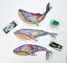 Купить Космические киты, неорбитные :) - комбинированный, киты, космос, вселенная, звезды, Созвездия, внеорбитные Great Whale, Whale Painting, Whale Art, Pen And Watercolor, Life Inspiration, Magick, Illustrators, Animation, Cartoon