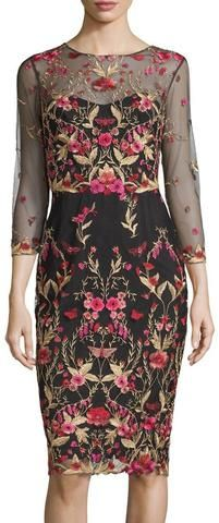 Floral Embroidered Tulle Sheath Dress