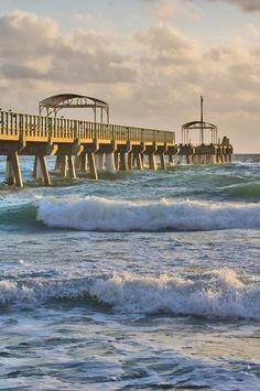Wave rolling beneath the Lake Worth, Florida pier. Lake Worth Florida, West Palm Beach Florida, Old Florida, Florida Travel, Miami Florida, Florida Beaches, South Florida, Beach Pics, Beach Pictures