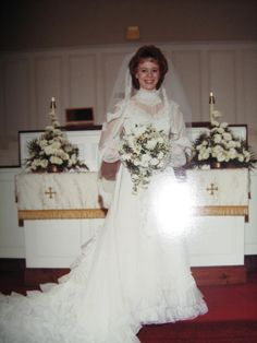 My 80s wedding ~ Merle Norman cosmetics 1985  (notice the 80s hairstyle, the drop bouquet, and I did my best to pattern the wedding after Princess Diana's :) )