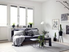 Black decor in a white interior