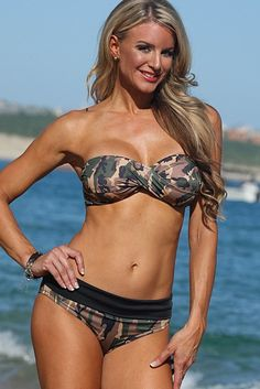 Strapless Camouflage Bikini, Strapless Camo Two Piece, Camouflage Swimsuit