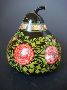Vintage Olinara Painted Gourd