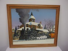 H. Hargrove Oil Painting Serigraph on Canvas Champaign Train Station