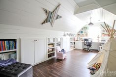 Amazing Attic Playroom --Check out this amazing Attic Renovation Before and After! They renovated the attic space above the garage into an incredible office and playroom! Love that shiplap and copper lighting.