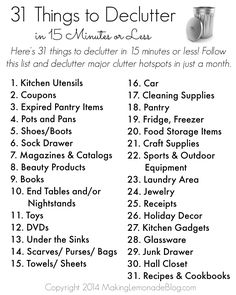 31 Areas to Declutter in 15 Mintues or less! This post is FULL of ideas for decluttering in just a few minutes a day as part of the Organize Everything 31 Day Challenge.