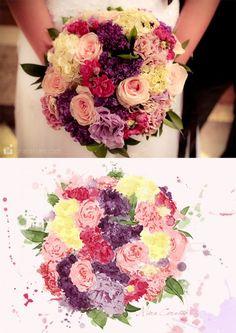 Ilustração do bouquet de noiva