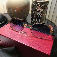 ebf42d5ddb67e Cartier Burbinga Wood Gold Frame Blue Lens C Décor Sunglasses   2-3 Day  Shipping
