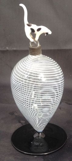 Rare Austrian Bimini Art Glass Cat Perfume Bottle