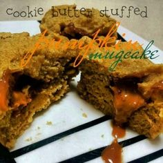 Ripped Recipes - Cookie Butter Stuffed Pumpkin Mugcake -  A seasonal, healthy, delicious dessert with a naughty filling! ;)