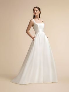 Full A-line Mikado and Net with Square Neck and Bateau Back Moonlight Wedding Dress Style Wedding Dress Necklines, Wedding Dress Styles, Wedding Dress With Pockets, One Shoulder Wedding Dress, Dress Pockets, Dress Making, Lace Dress, Bridal Gowns, Wedding Gowns
